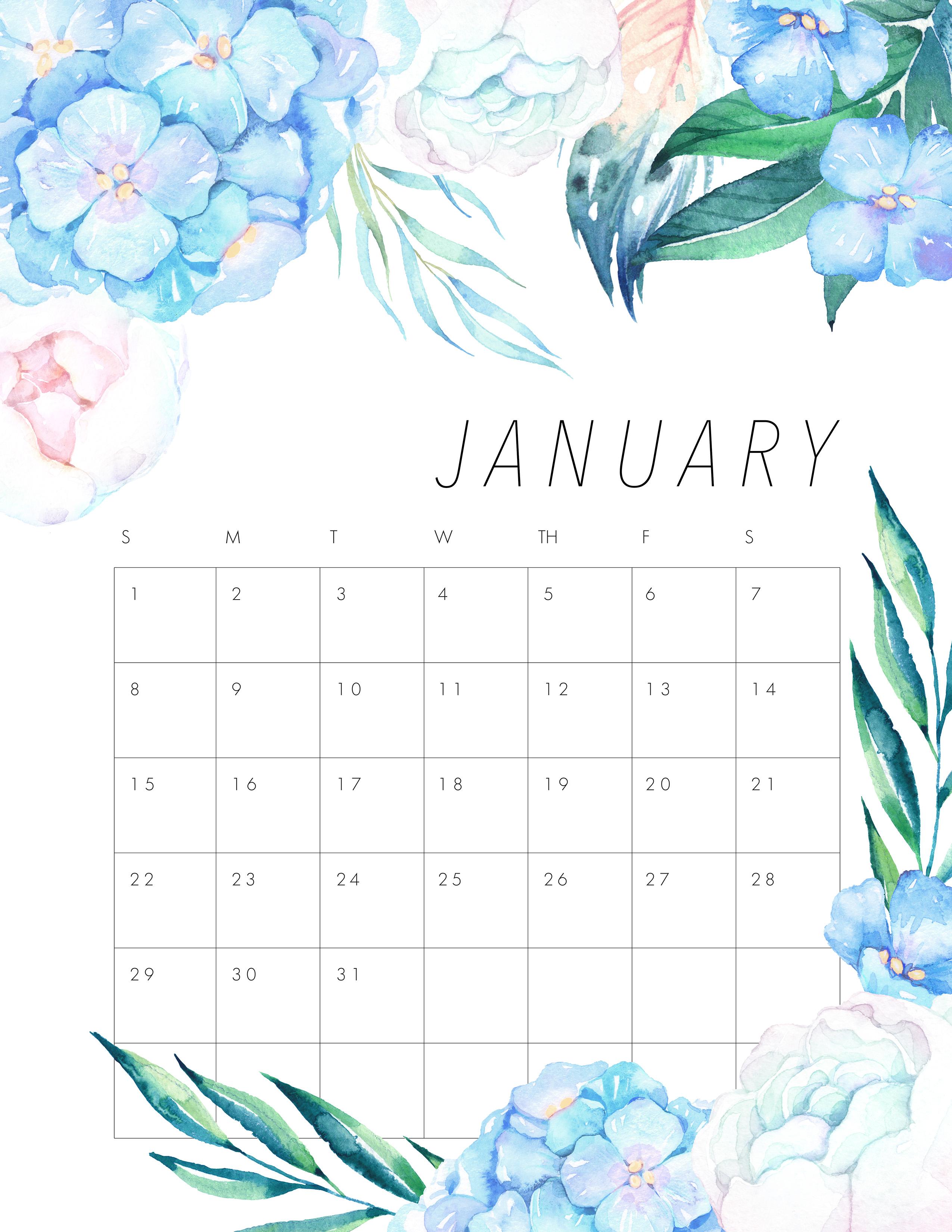 Free Printable 2017 Floral Calendar
