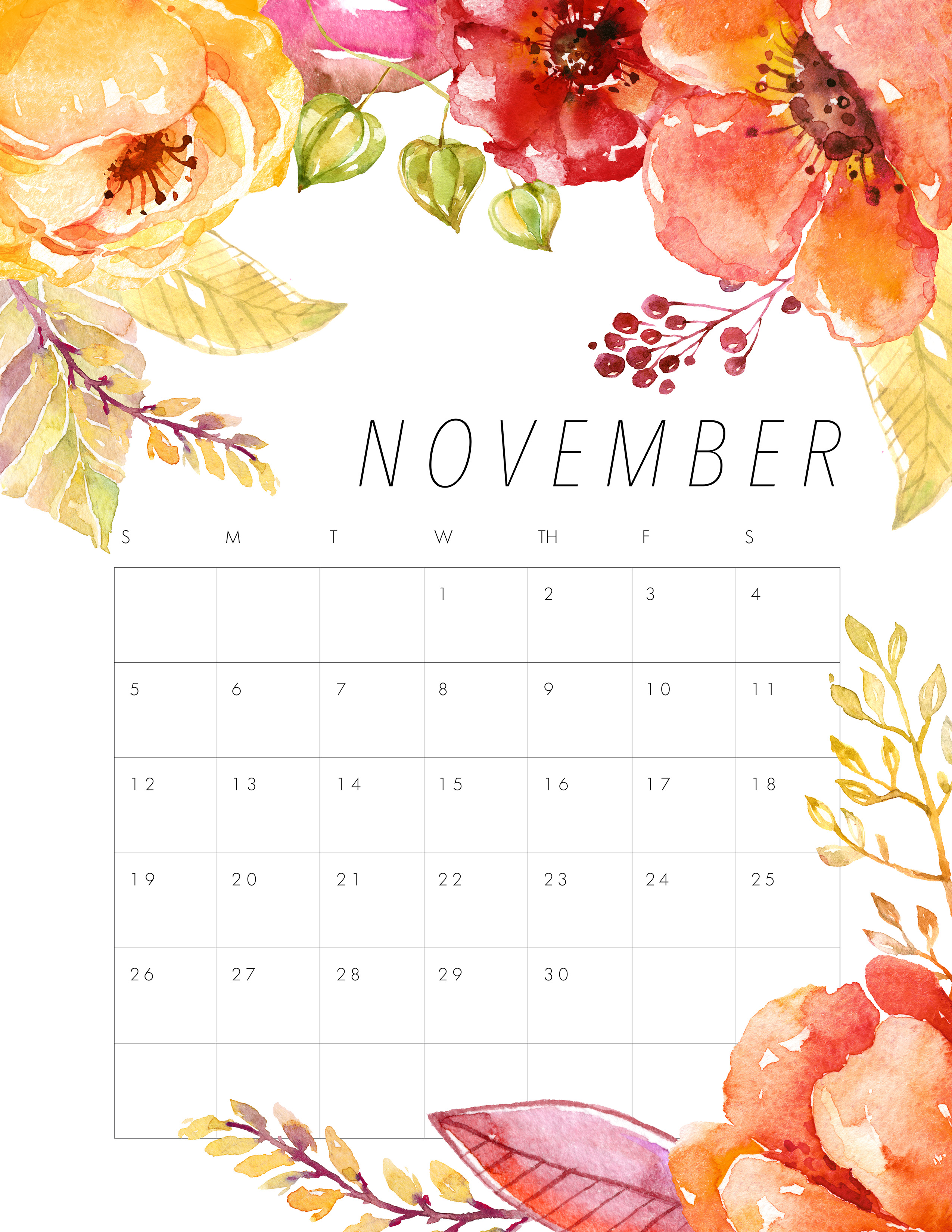 November Calendar Design : Free printable floral calendar the cottage market