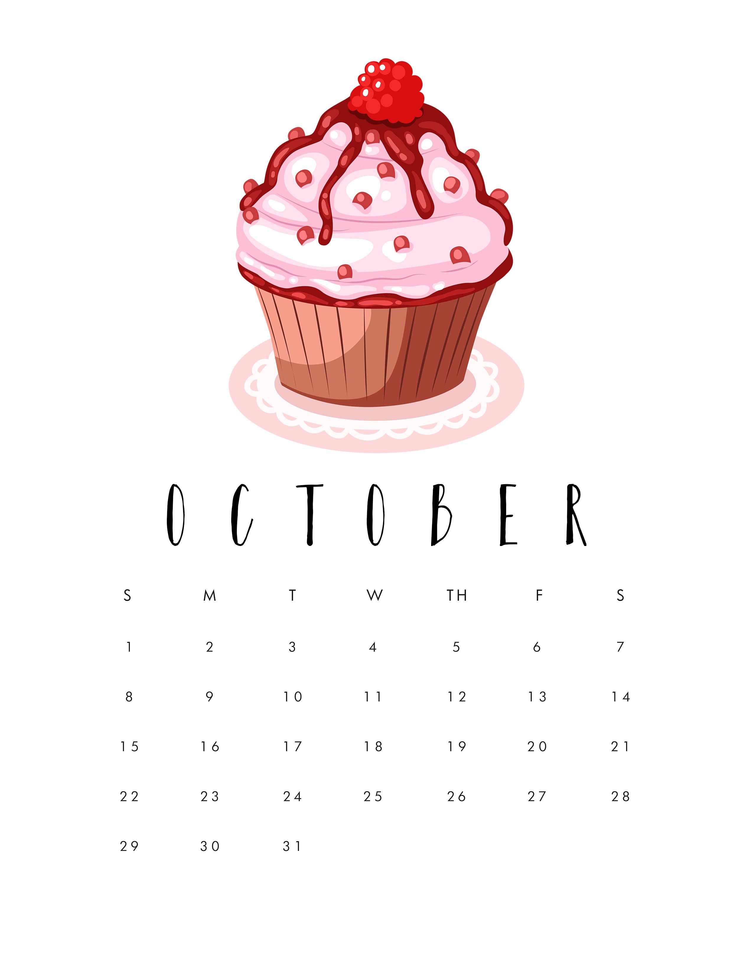 October 2017 Calendar Printable - Free Monthly Calendar 2017