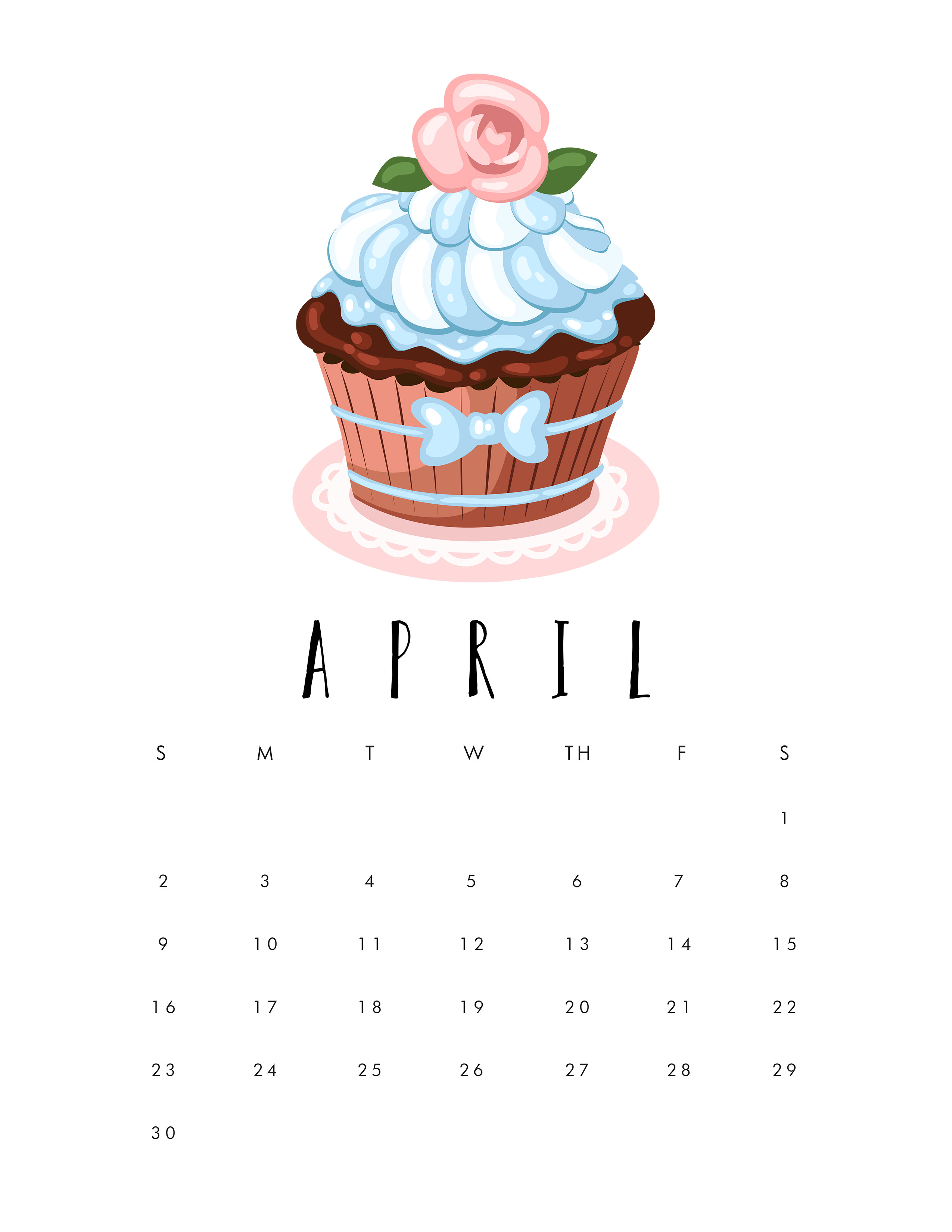 Free Printable 2017 Cupcake Calendar - The Cottage Market