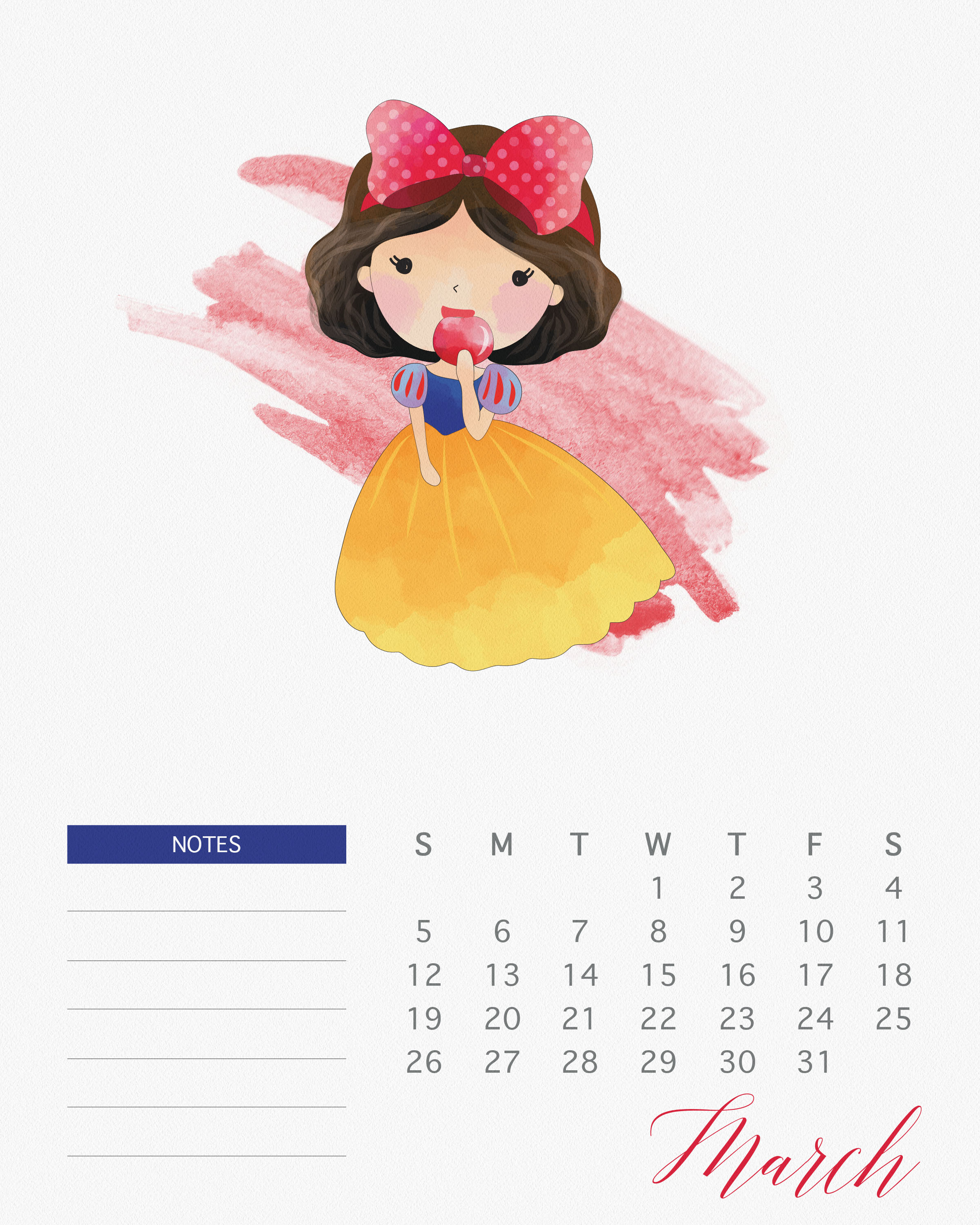 Free Printable 2017 Watercolor Princess Calendar The