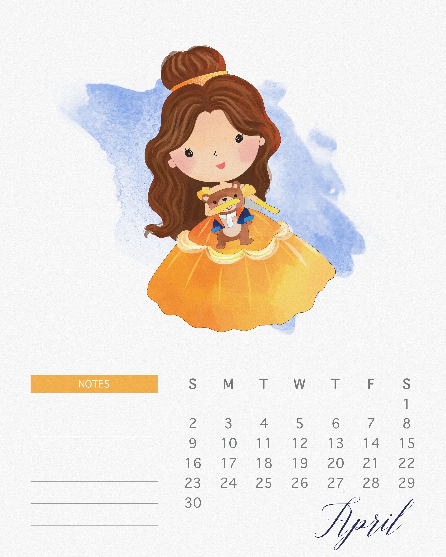 Free Printable 2017 Watercolor Princess Calendar - The Cottage Market