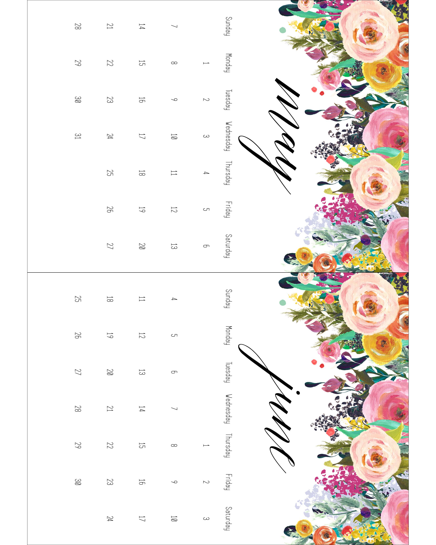 Terrific Free Printable 2017 Floral 5X7 Calendar The Cottage Market Download Free Architecture Designs Scobabritishbridgeorg