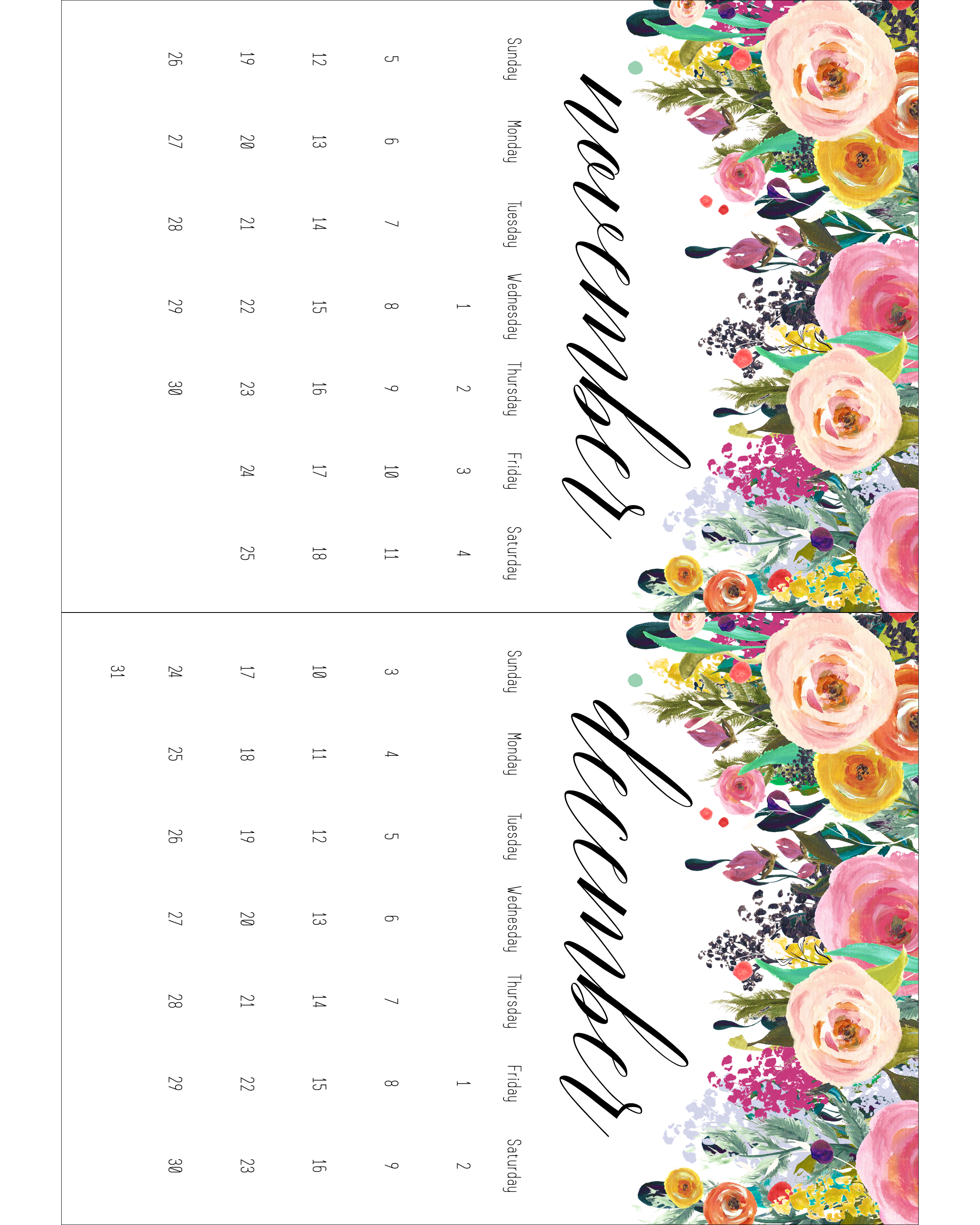 Free Printable 2017 Floral 5x7 Calendar The Cottage Market
