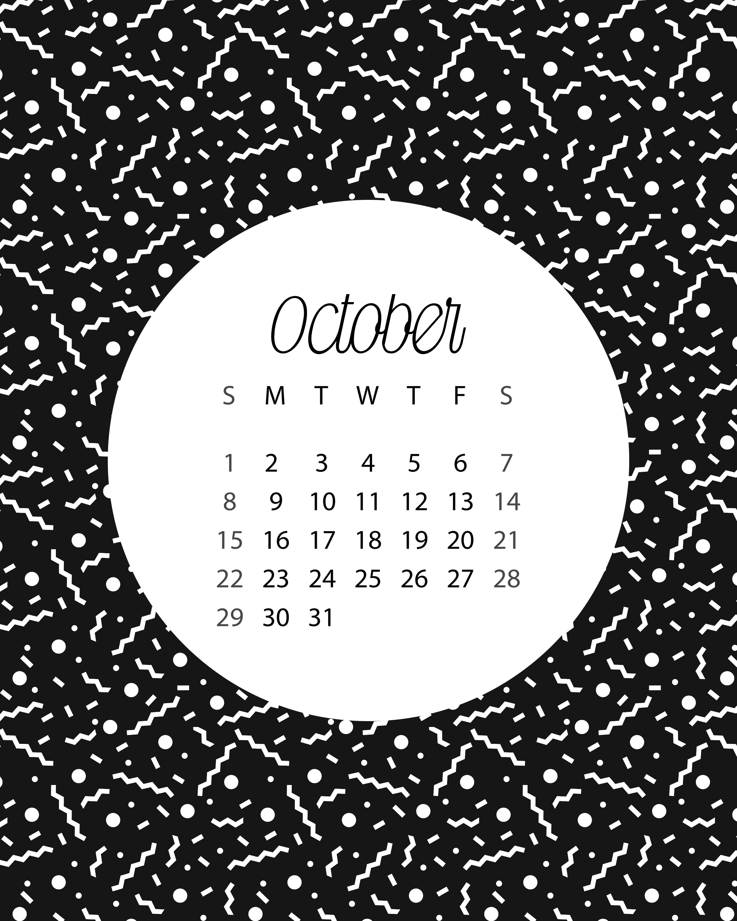 Blank October 2017 Calendar in Printable format.