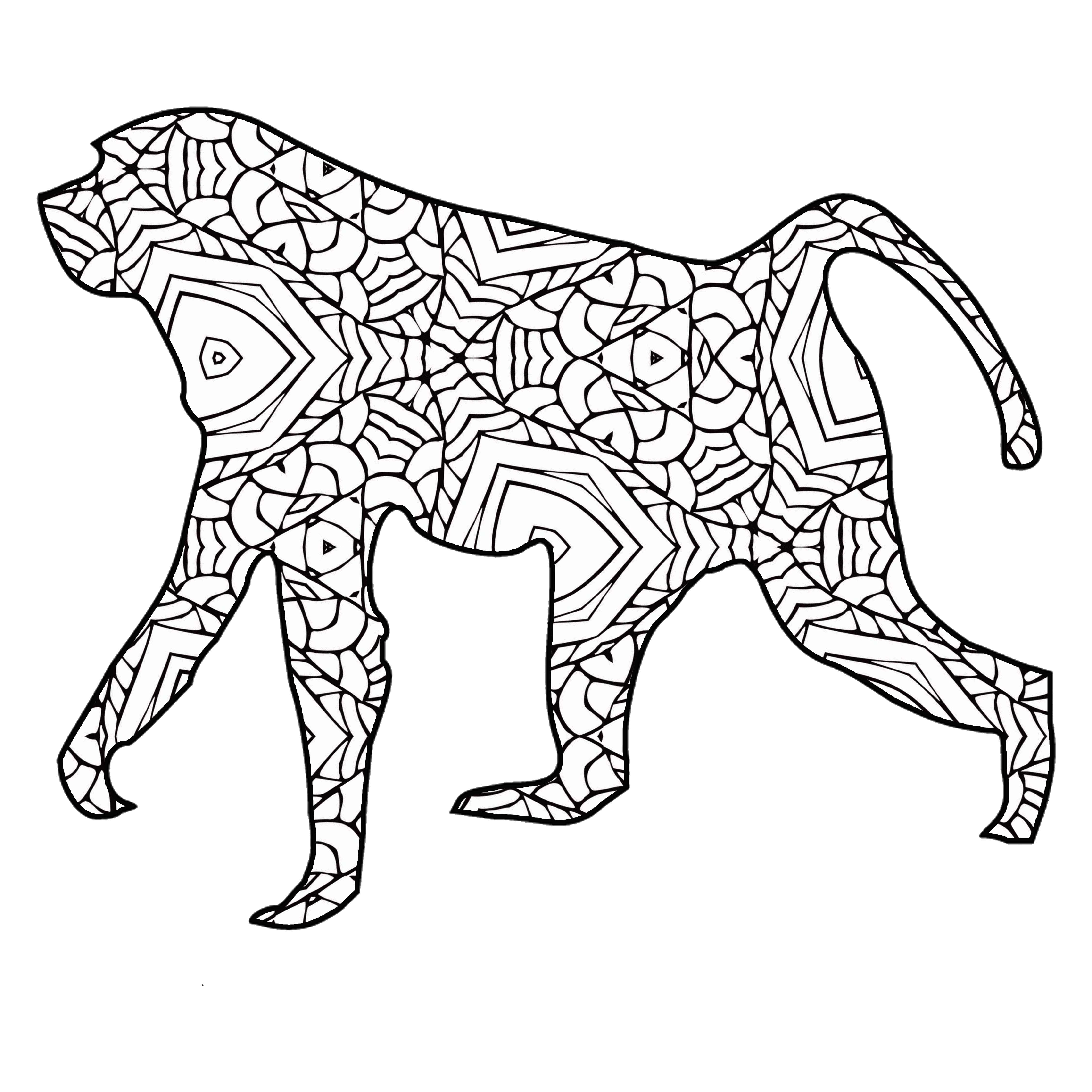 Ausmalbilder Zootiere: 30 Free Coloring Pages /// A Geometric Animal Coloring