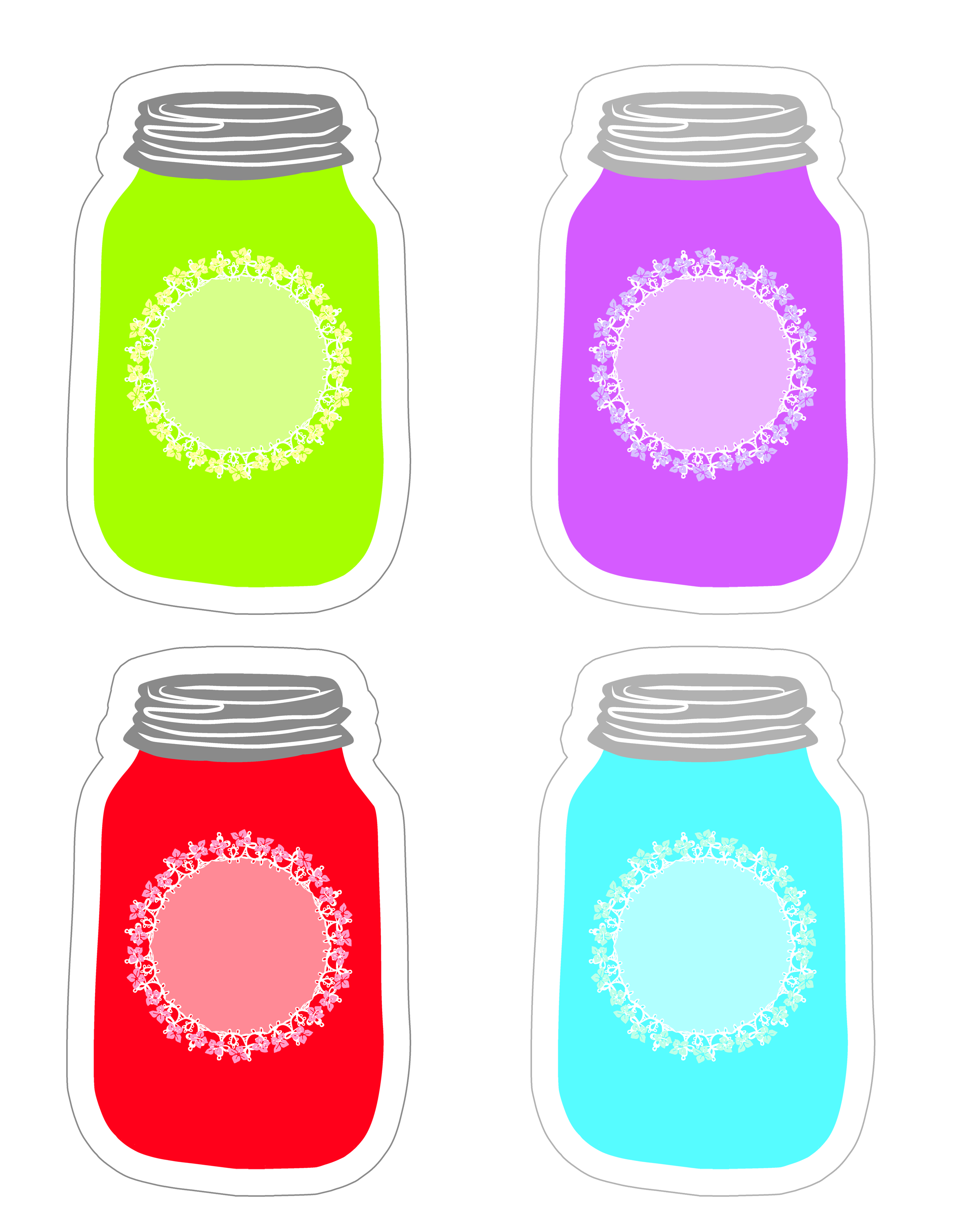 colorful mason jar tag collection free printable the cottage market
