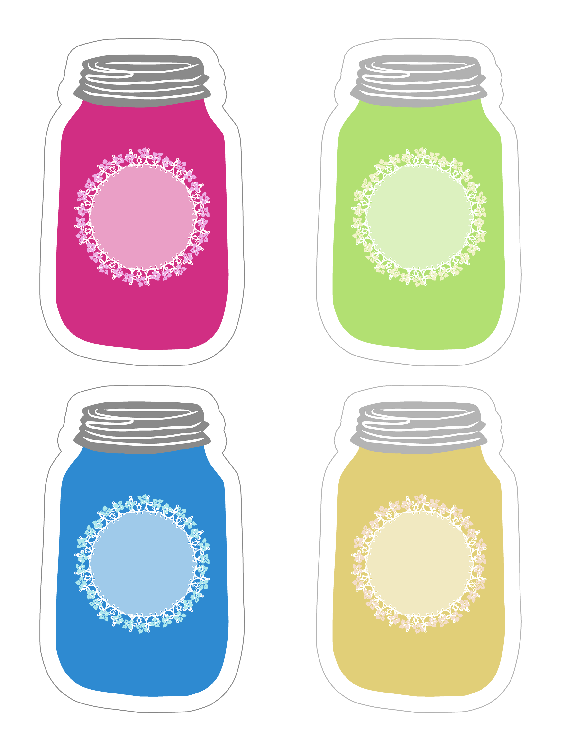 image about Mason Jar Printable known as Colourful Mason Jar Tag Selection Free of charge Printable - The