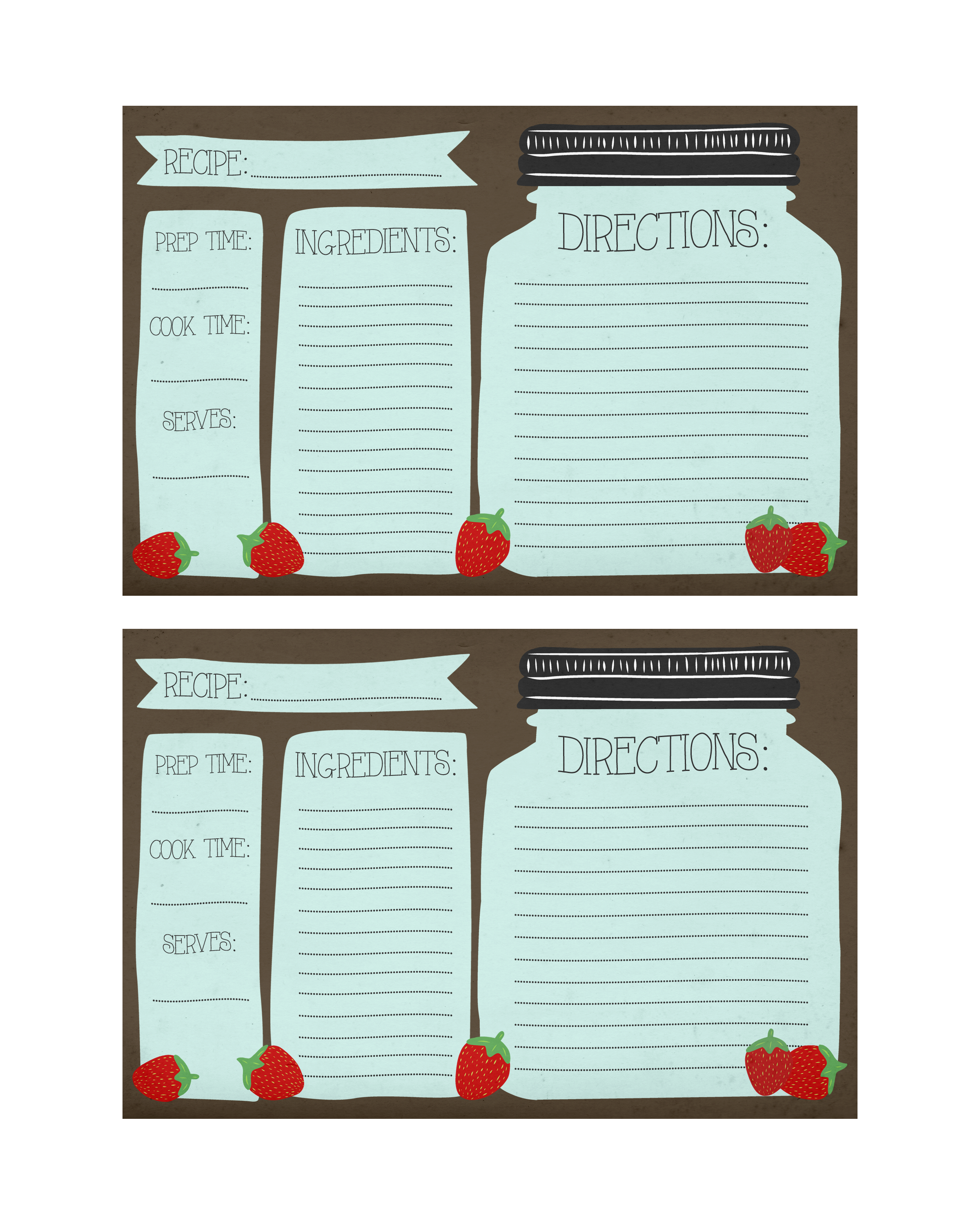 free printable mason jar recipe cards and matching gift