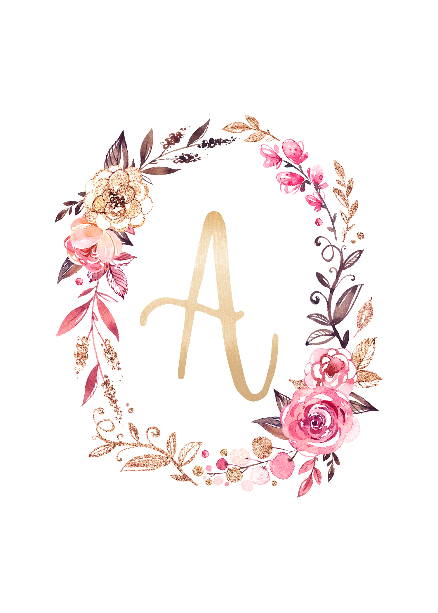 Free Glitter And Glam Monogram Printables