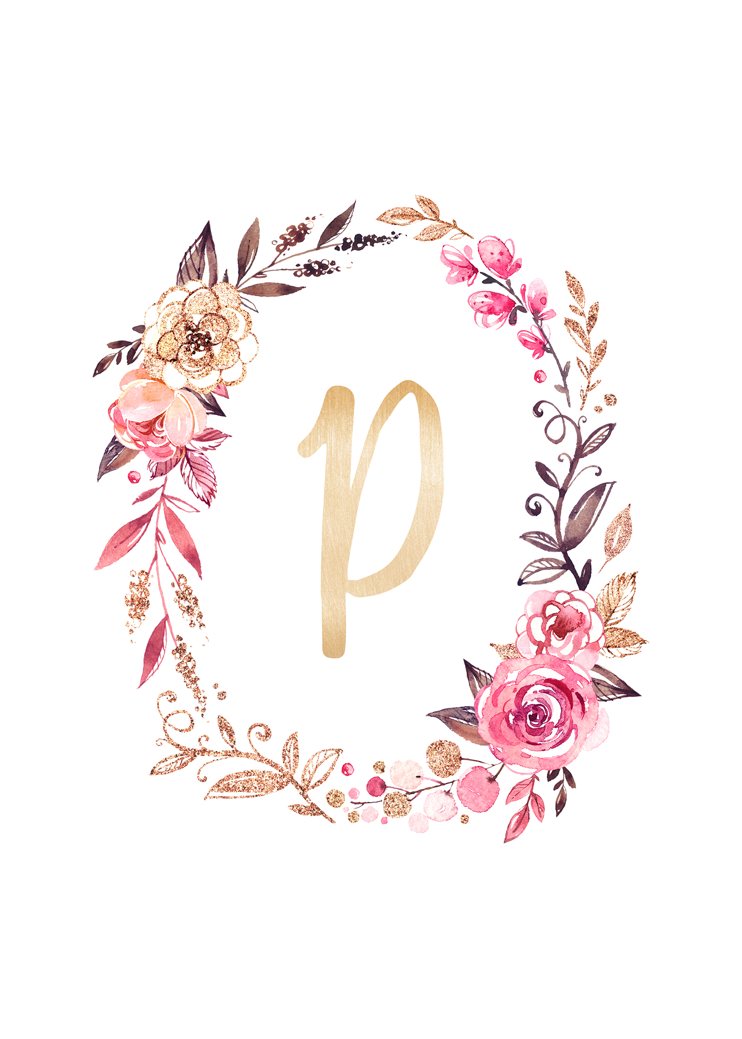 P  Floral Letter Print  Floral Letters Floral And Printing