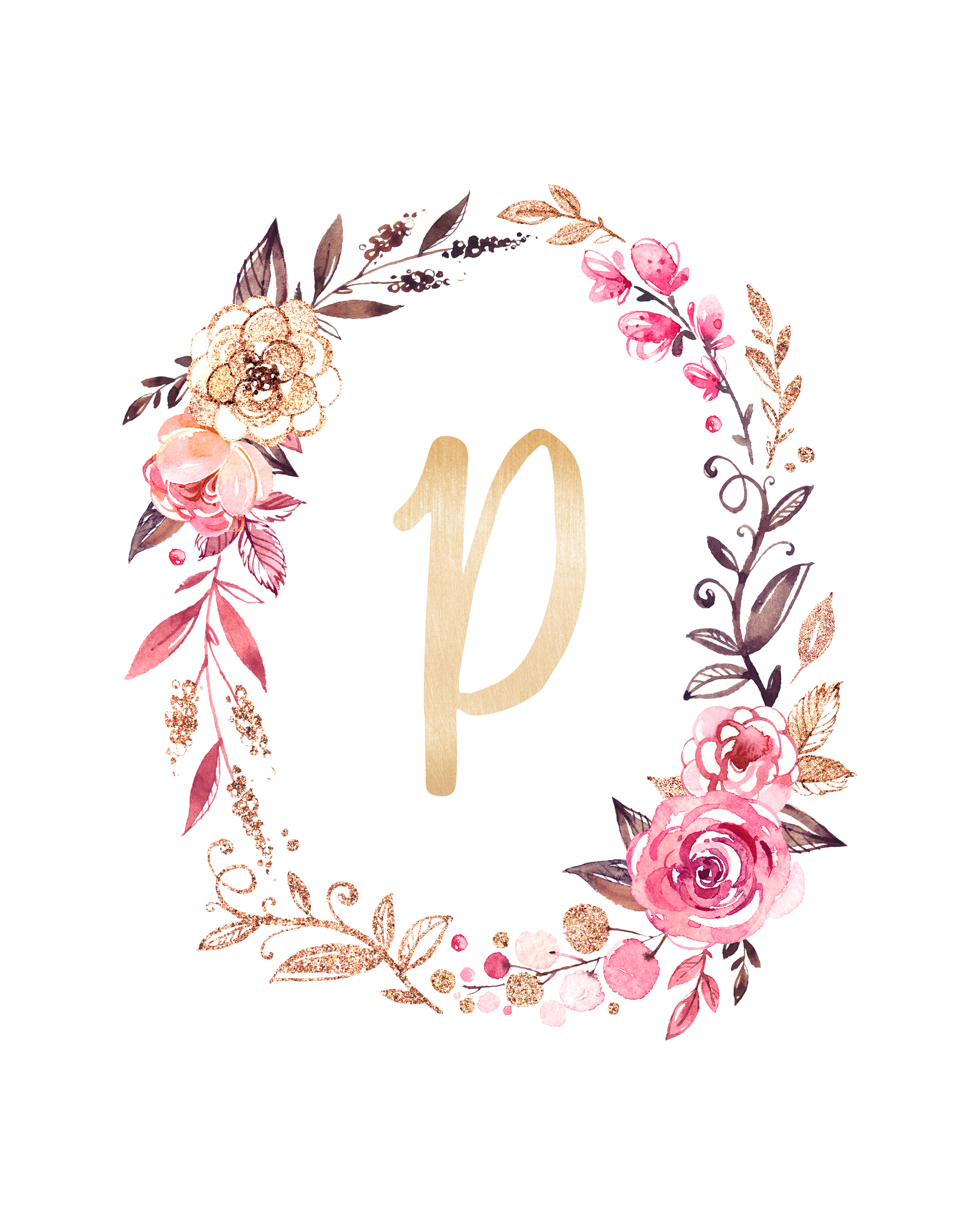 Free Glitter and Glam Monogram Printables | The Cottage Market
