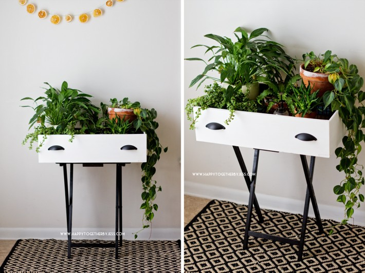 This black and white drawer turned planter adds greenery to the space.