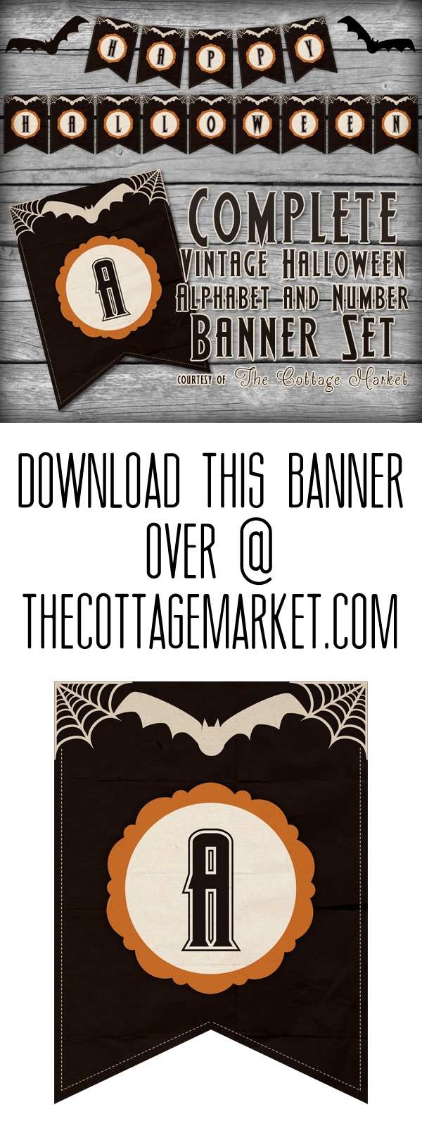 image relating to Halloween Banner Printable called Absolutely free Printable Halloween Banner Fixed The Cottage Current market