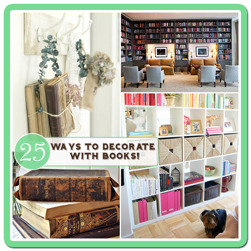 25 ways to decorate with books free bookplate printable for Decorating with books house beautiful