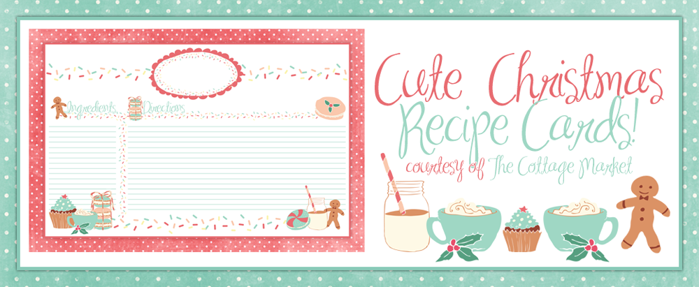 Cute Holiday Recipe Card Printable FOR YOU plus some sweet ...