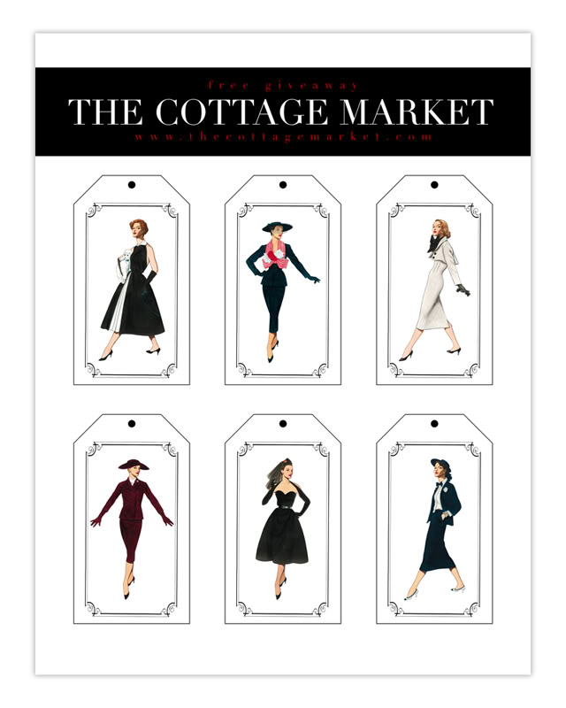 graphic about Printable Fashion known as Absolutely free Printable Design and style Tags 50s Fashionistas - The Cottage