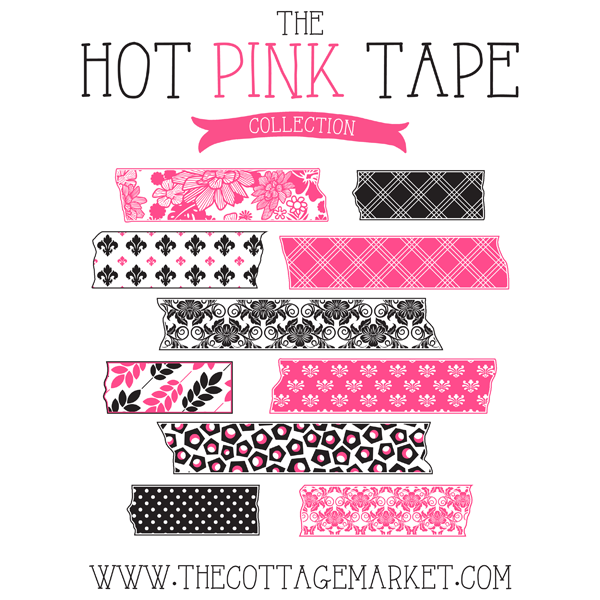 Free Hot Pink and Toile Digital Washi Tape Collection (The Gate House Collection)
