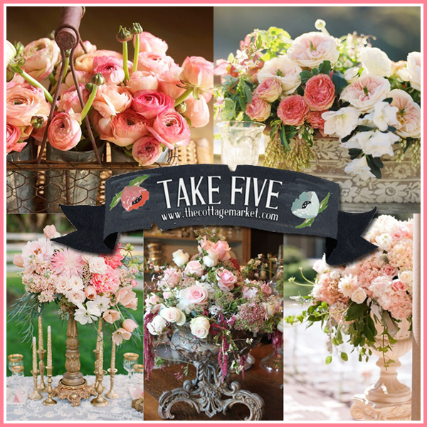 Take Five: Peachy Pink Flowers and Vintage Treasures
