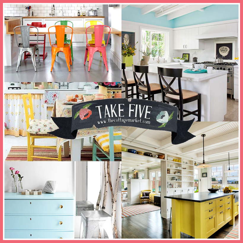 Take 5: All about a pops of color in your white kitchen