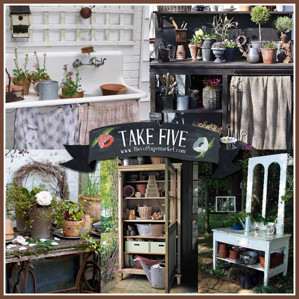 Take 5 Vintage Cottage Chic Upcycled Potting Benches for your Garden