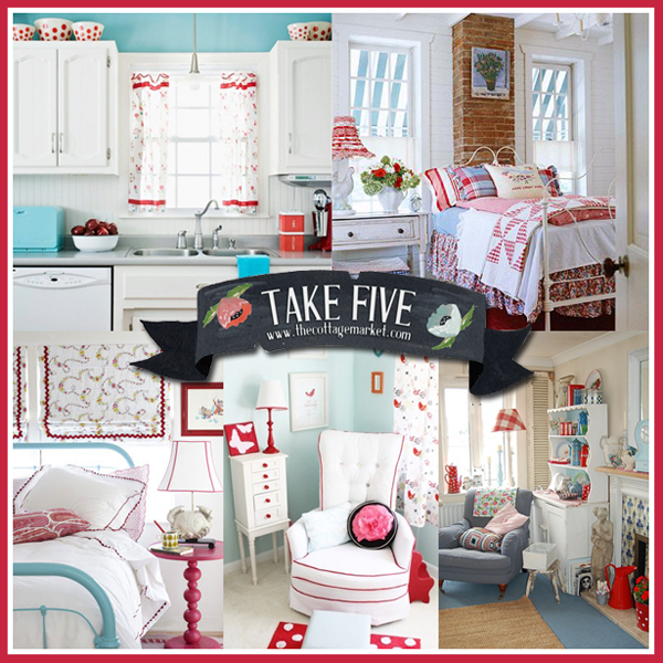 Take 5: Aqua and Red Cottage Style Decor