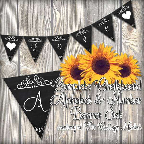 Free Printable – Whole Alphabet Chalkboard Banner Upper & Lower Case Plus Numbers and more