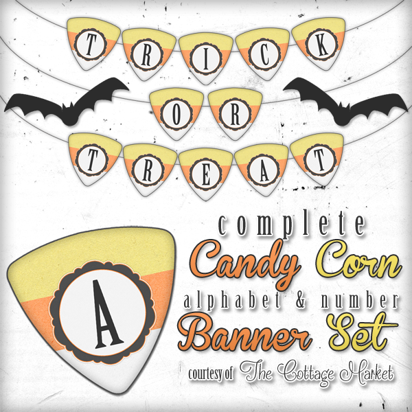 free printable halloween candy corn alphabet and number banner set the cottage market