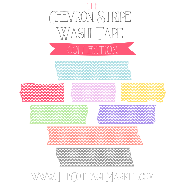 FREE Chevron Stripe Washi Tape Digital Collection