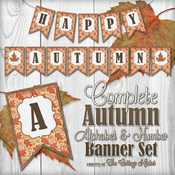 Free Complete Autumn Alphabet And Number Banner Bunting Set With