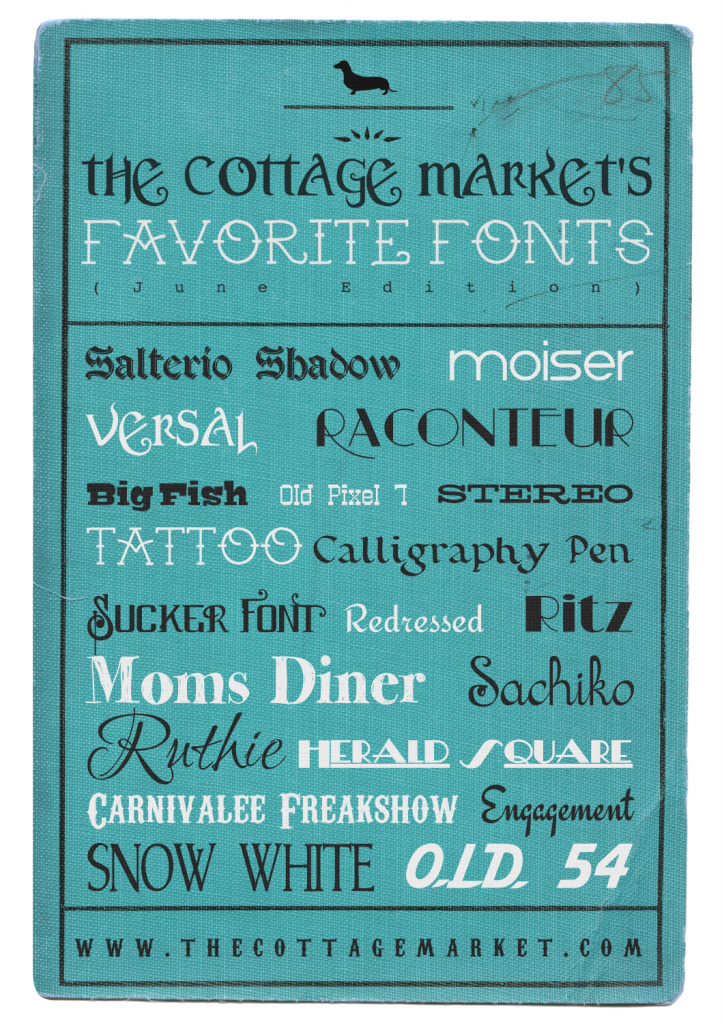 Favorite Fonts Of The Month From The Cottage Market The