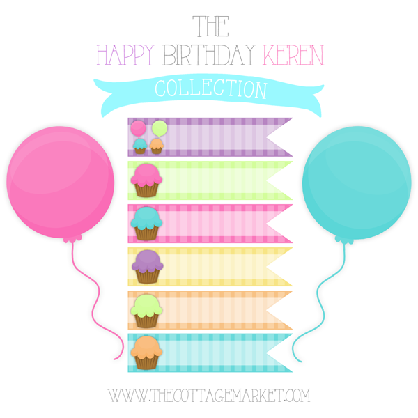 Free Cupcake Digital Ribbons The Happy Birthday Keren Collection