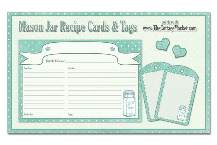 Free Printable Mason Jar Recipe Cards And Tags Awesome In Aqua  Free Recipe Templates