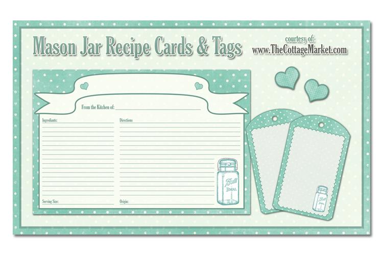 Free Printable Mason Jar Recipe Cards And Tags Awesome In Aqua The