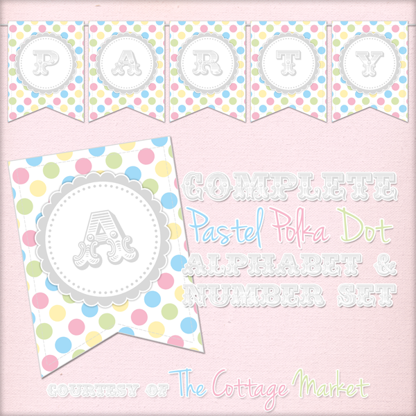 Free Printable – Whole Alphabet Pastel Party Polka Dot Banner/Bunting & Numbers