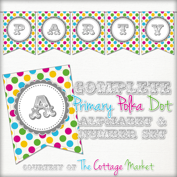 Free Printable – Whole Alphabet Primary Party Polka Dot Banner/Bunting & Numbers