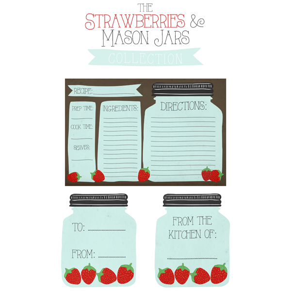 Free printable mason jar recipe cards and matching gift tags the thecottagemarket stawberrymasonjar web negle Gallery