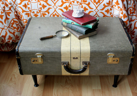 This vintage suitcase turned side table is a brilliant thrift store DIY project that is totally unique