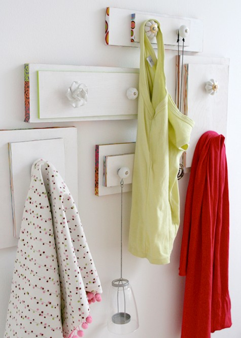 The drawers of an old cabinet make perfect DIY floating hangers for bags, jackets - anything!