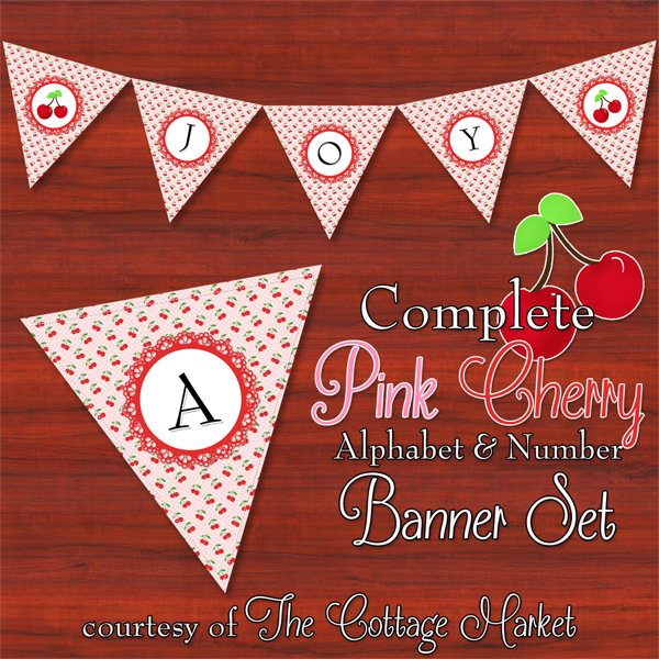 Free Printable Pink Cherry Banner Set The Cottage Market
