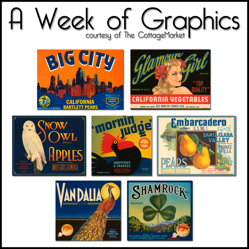 Vintage Vegetable and Fruit Crate Labels FREE collection of the week