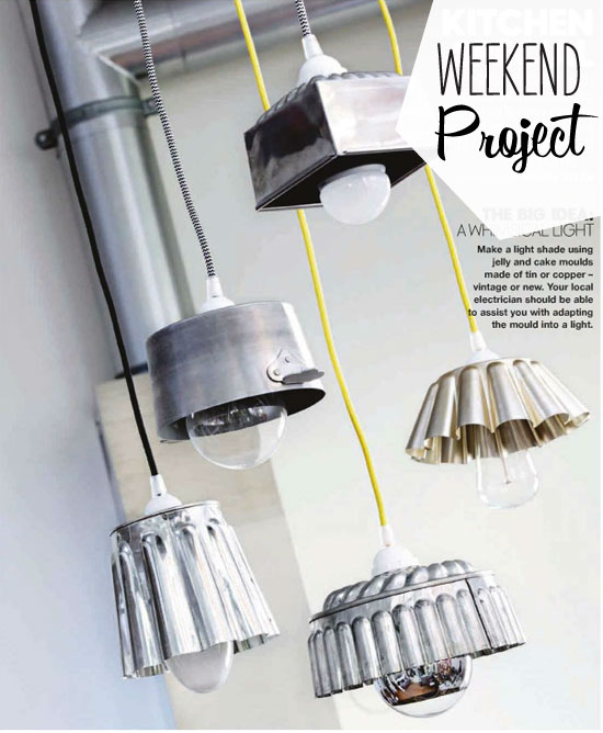 Turn all those old discarded odd pots and pans into hanging light fixtures for a vintage industrial look perfect for a kitchen or bathroom