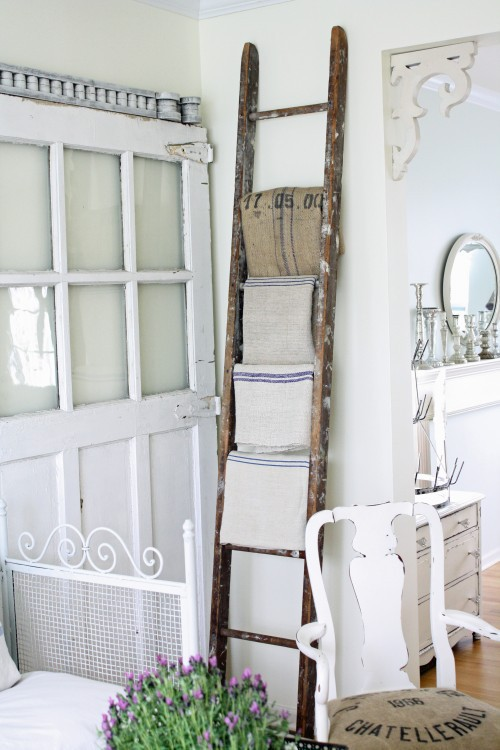 This old barn wood ladder makes a perfect blanket or towel holder