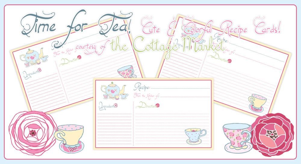 Time For Tea Printable Recipe Cards Especially For You