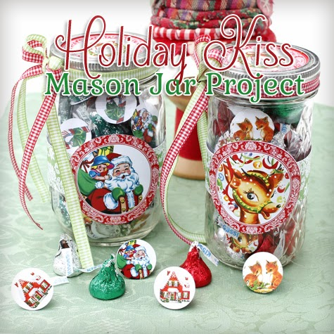 Holiday Candy Mason Jar with Kisses Gift DIY