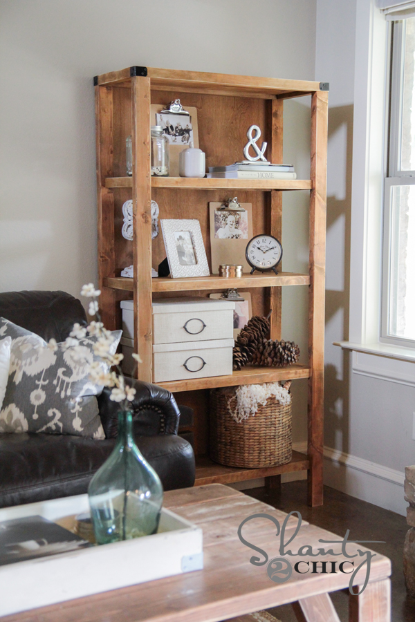 This pottery barn inspired bookcase looks amazing in any decor