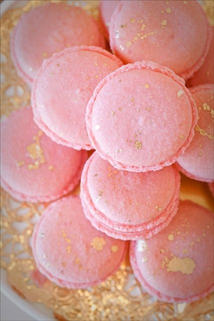 Pink macarons speckled with gold #Laduree #pinkmacarons