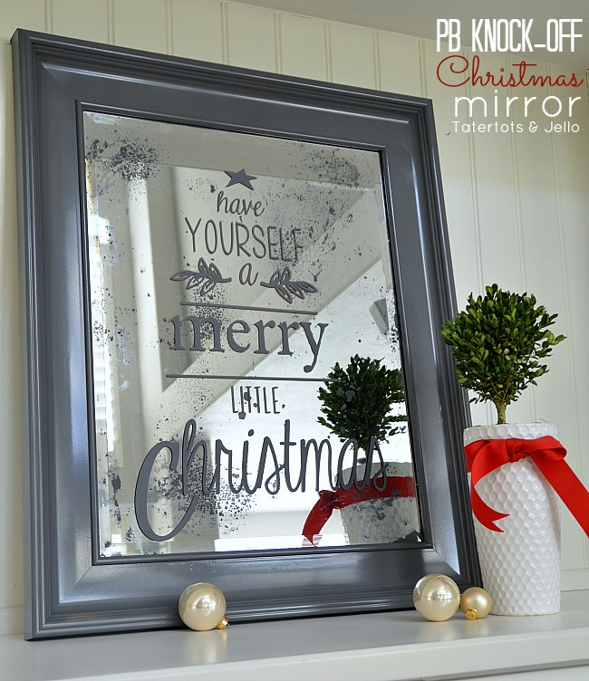 This christmas mirror is a simple pottery barn knock off project on a budget