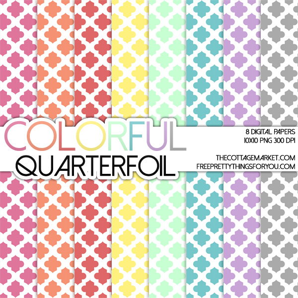 Quarterfoil Colorful Moroccan Digital Paper Pack {A Digital Paper Pack GIFT)