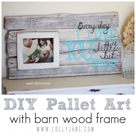 Lolly Jane made this barn wood frame pallet wall art with family photos and an inspirational quote